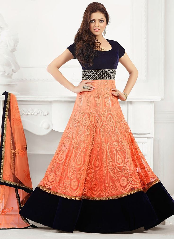 Orange Net Madhubala Floor Length Anarkali