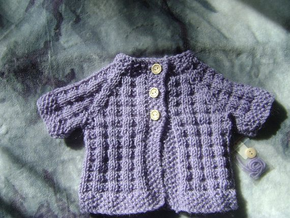 Little short sleeved cardigan/jacket for Newborn baby, pure wool dk. Purple and unisex. | Shop this product here: http://spreesy.com/LittleKiwiKnits/6 | Shop all of our products at http://spreesy.com/LittleKiwiKnits    | Pinterest selling powered by Spreesy.com