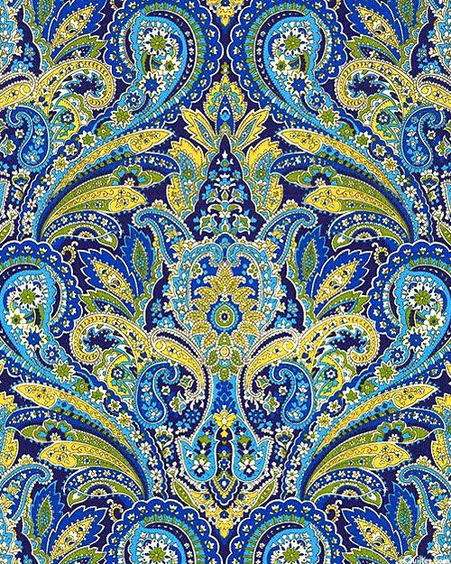 Arabella - Exotic Paisley Symmetry - Midnight Blue