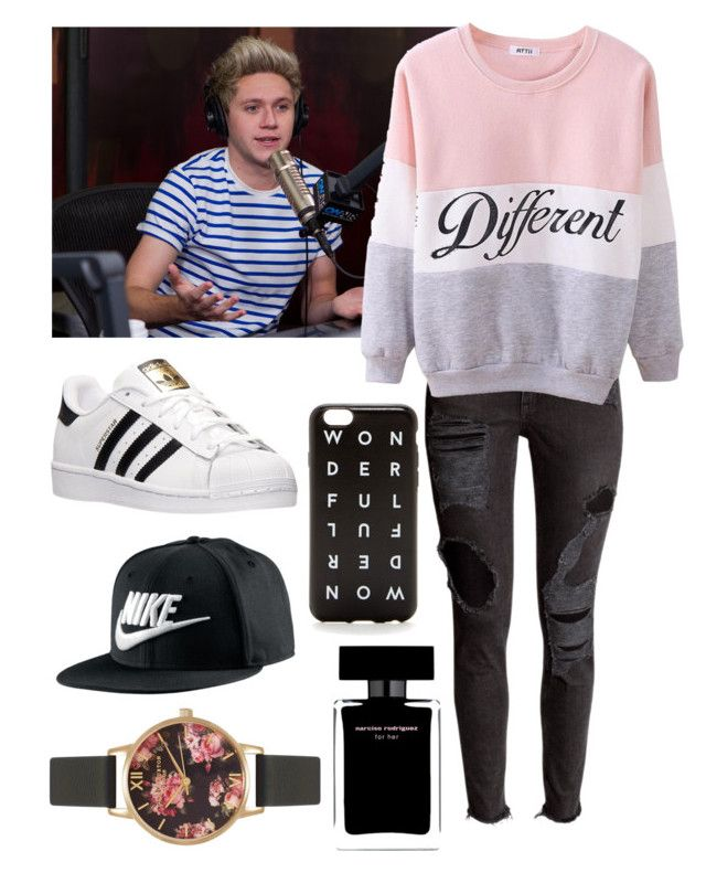 """LA radio station with Niall"" by ishi2003 ❤ liked on Polyvore featuring Payne, adidas, J.Crew, NIKE, Olivia Burton and Narciso Rodriguez"