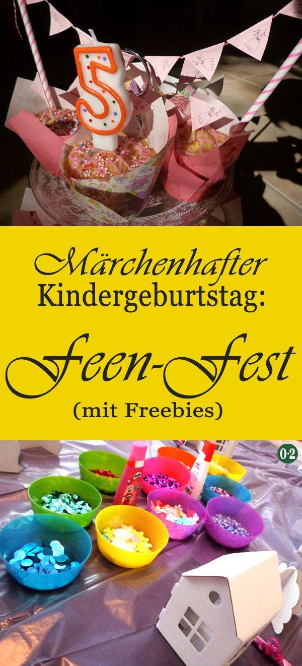 """Ein märchenhafter Kindergeburtstag mit dem Motto """"Fee"""" und diversen Printables für Einladungskarten, Muffin- Topper und eine Kuchengirlande"""