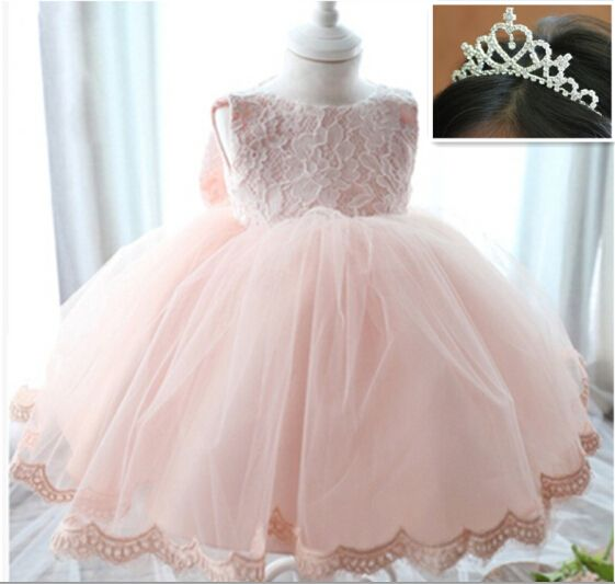 Newborn baby girls birthday dress first baptism christening wedding party baby's dresses lace pink bow ball gown cute baby dress