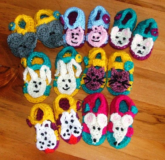 Crochet Baby Sandals  Animal selection. Sole by KraftyKiwis