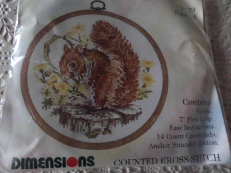 """Cross stitch kit complete Picture of a squirrel  Dimensions British Collection  Comes with 7"""" flexiframe everything included by MaddisonsRainbow on Etsy"""