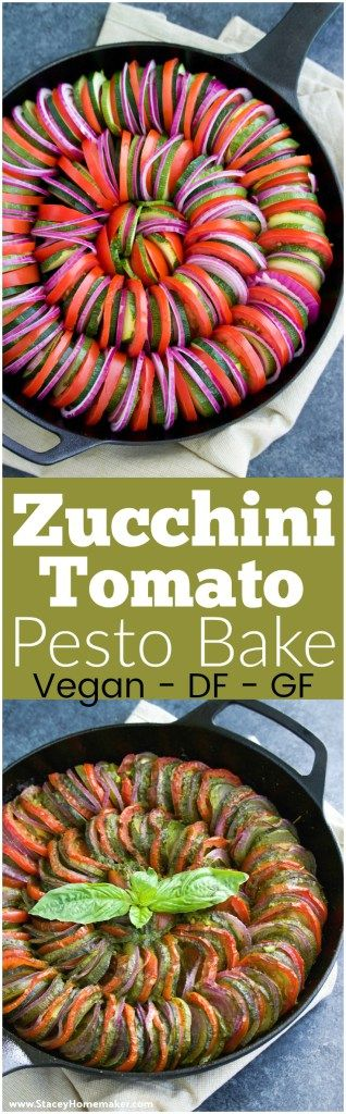 This zucchini tomato pesto bake is easy to make, quick to assemble, delicious, and so IMPRESSIVE! It's a gorgeous healthy side dish to go with any dinner. Vegan, dairy-free, gluten-free.