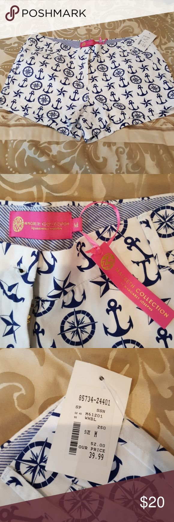 Macbeth collection nautical shorts White shorts with navy anchors ....reposh! I love these! They are just a tad bit small for me! Made by real housewife of nj margaret josephson, new with tags! macbeth collection Shorts