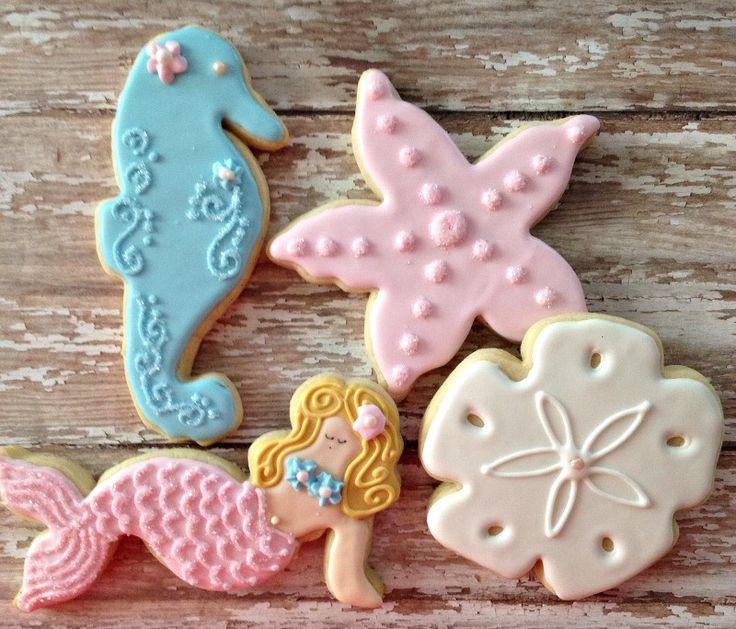 Mermaid and Sea Friends Cookie Cutter Set Durable, heavy duty tinplate steel. 2 cm depth. Great for cookies, sandwiches, brownies . . . - starfish width: 8.3 cm - starfish length: 7.8 cm - mermaid wid