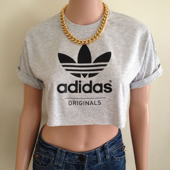 Adidas Originals Short Sleeved Grey Charcoal Crop Top Tee T Shirt Hipster