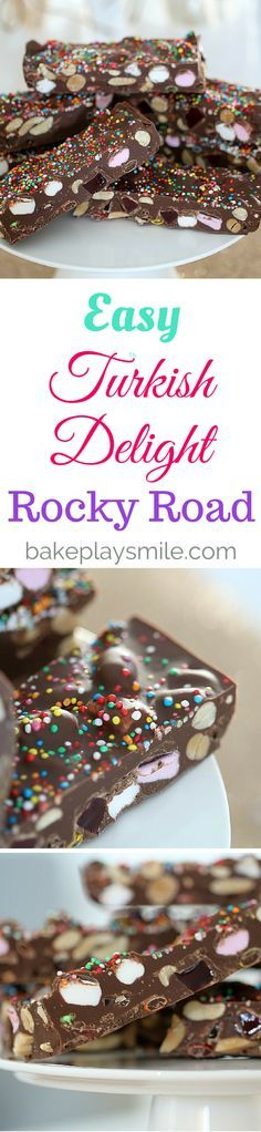 Easy Turkish Delight Rocky Road (with M&Ms!!). A perfectly simple microwave…