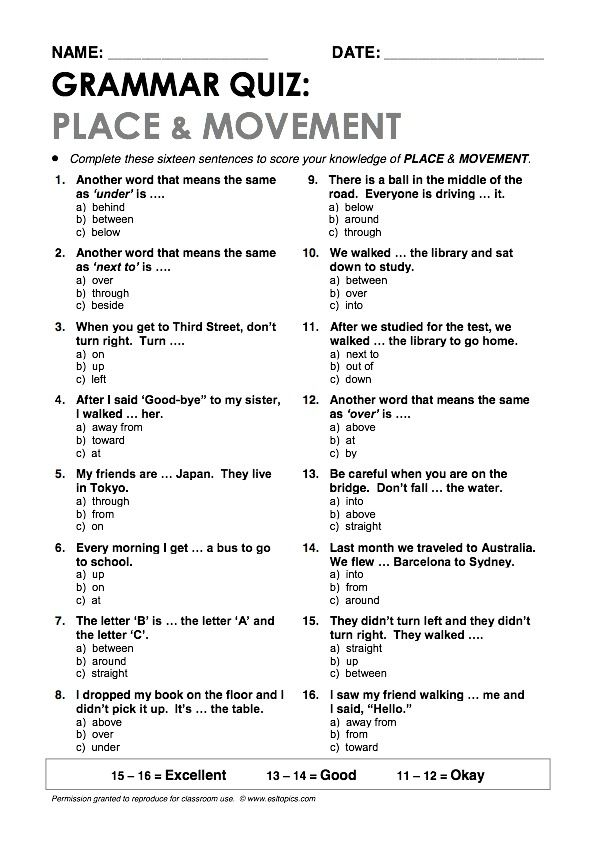"""Place & Movement"" Grammar Quiz"