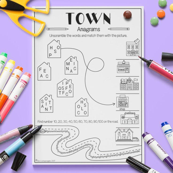 10 best ESL Kids Town Activity Worksheets images on Pinterest