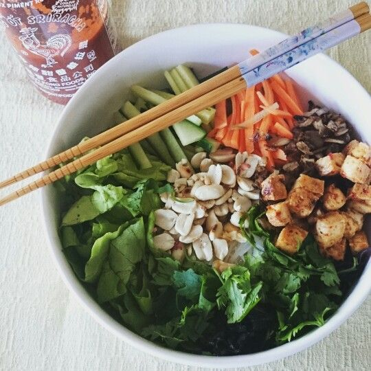 """Vegan """"bun bo nam bo"""" with tofu"""