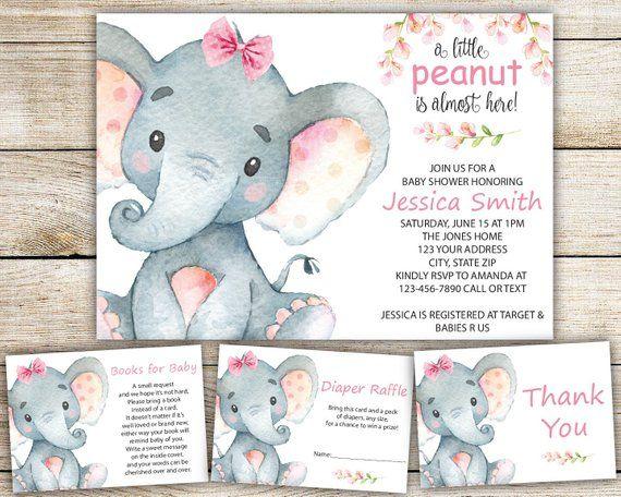 Ideas Tarjetas Baby Shower.Elephant Baby Shower Invitation Girl Set Baby Elephant Girl