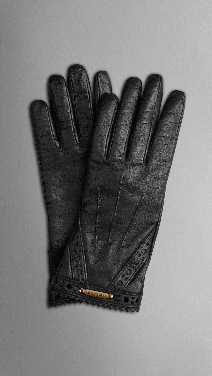 Black leather gloves meaning - Brogue Detail Nappa Leather Gloves Burberry