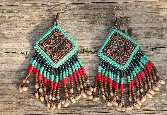Check out this item in my Etsy shop https://www.etsy.com/listing/559050572/turquoise-red-brown-funky-earrings-gift