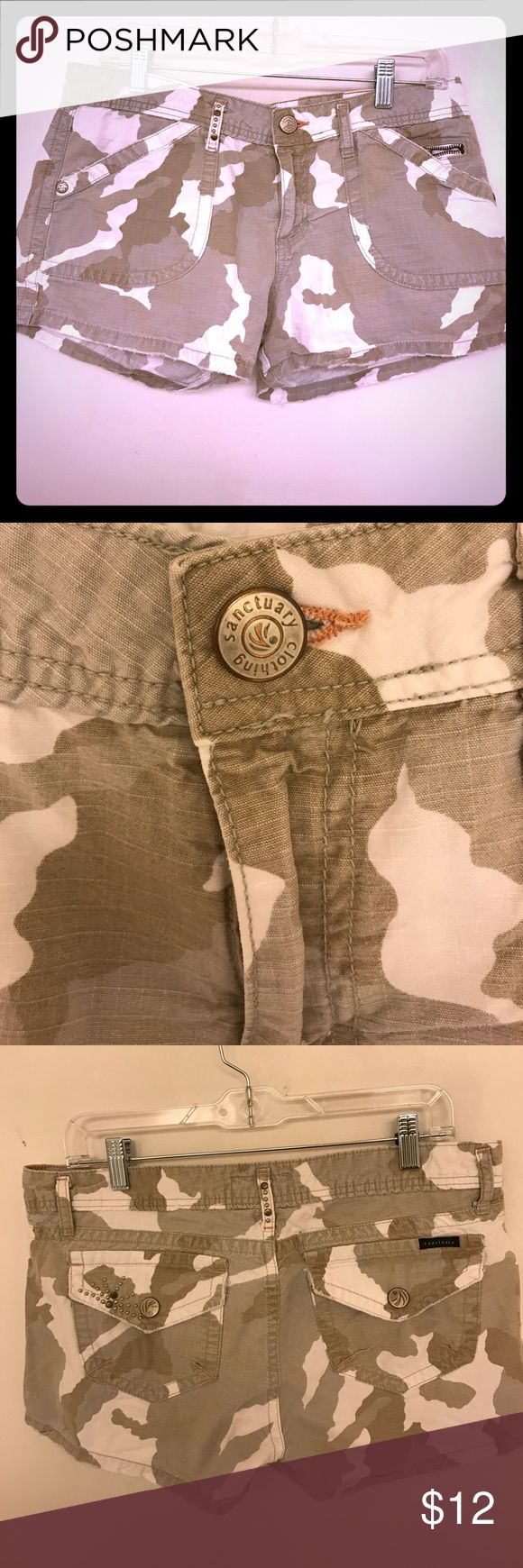 Sanctuary peace Camo/camouflage shorts. Size 29 Sanctuary peace Camo/camouflage shorts. Size 29. Frayed edges but supposed to be that way. Sanctuary Shorts