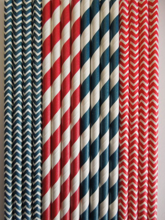 50 NAVY& RED Paper Straws Mix Stripes, Chevron Dots DiY Flags- Nautical, Marine, Anchor Wedding Kids Birthday Baby Shower Bachelorette Party $5.99