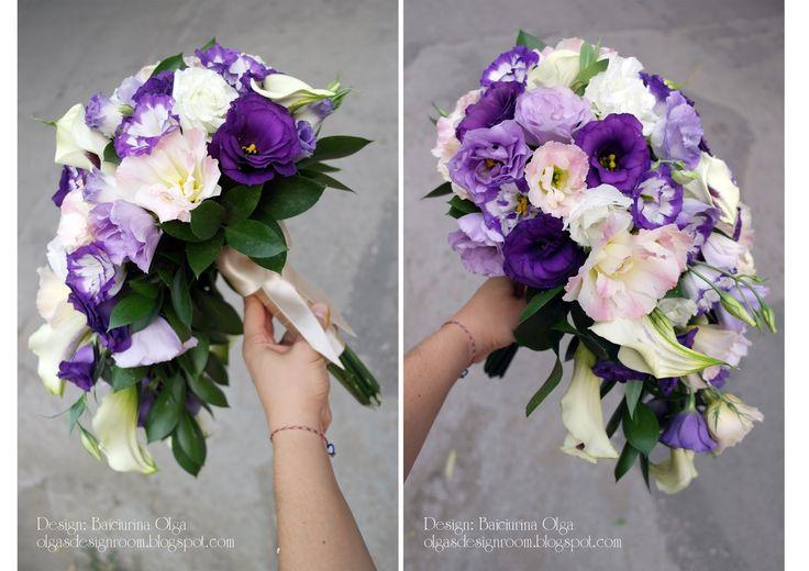 Baiciurina Olga's Design Room: Бело-фиолетовый каскадный букет невесты-Violet&white cascade wedding bouquet