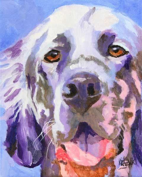 English Setter Art Print of Original Acrylic by dogartstudio