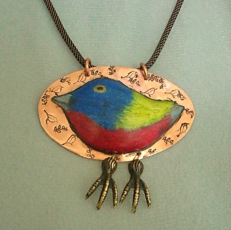 colored pencil on copper bird design 85 www