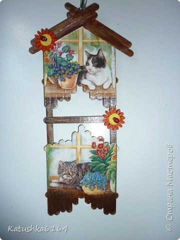 Поделка изделие Декупаж Моделирование конструирование летние домики - панно из палочек от мороженого Материал бросовый Салфетки фото 6