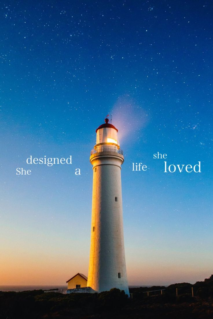 She designed a life she loved lighthouse stars sky WALLPAPER by Angie Leigh
