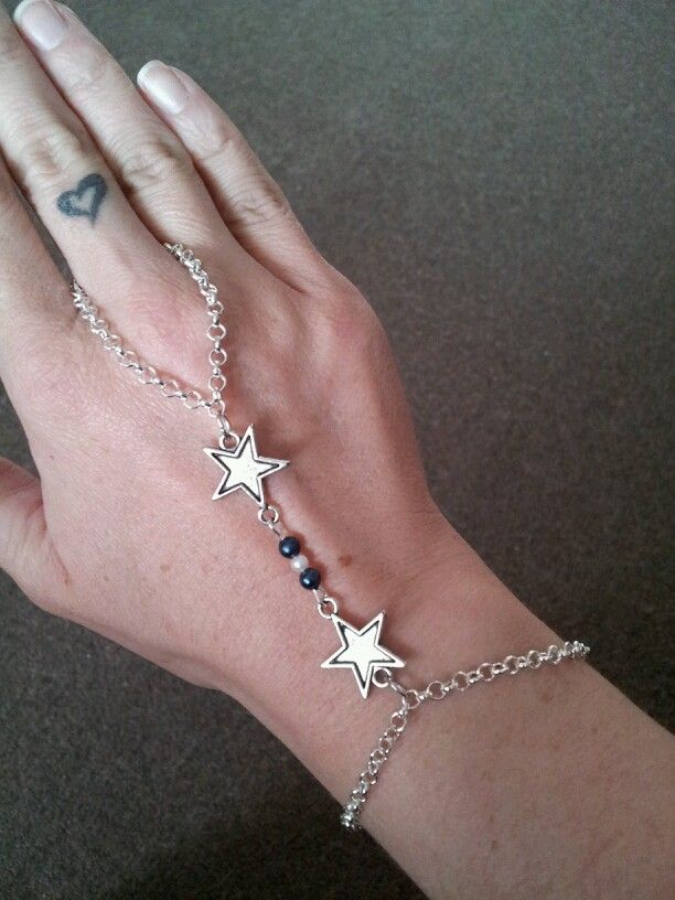 Silver Star Slave Bracelet with Blue and White Acrylic Pearls - $12 (Link available soon)