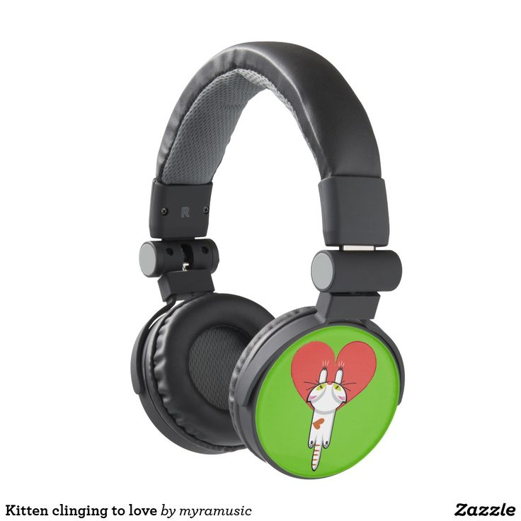 Kitten clinging to love headphones. Cat, kitten, love. Música, music. Producto disponible en tienda Zazzle. Tecnología. Product available in Zazzle store. Technology. Regalos, Gifts. #headphones #sound