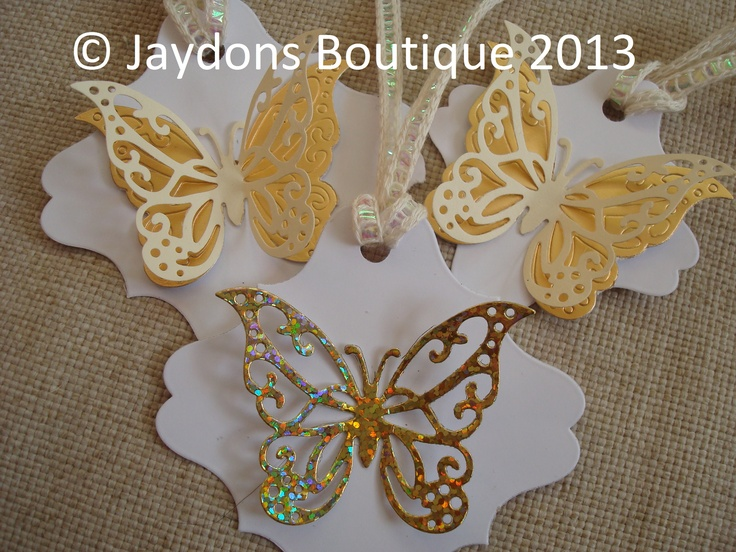 Beautiful, White, Ivory and Gold Gift/Favour/Hanging Tags, 2 sizes available x