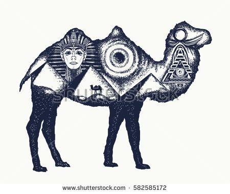 Camel tattoo art. Ancient Egypt, Pharaoh, Ankh, Pyramid. Symbol of archeology, ancient civilizations. Camel double exposure animals