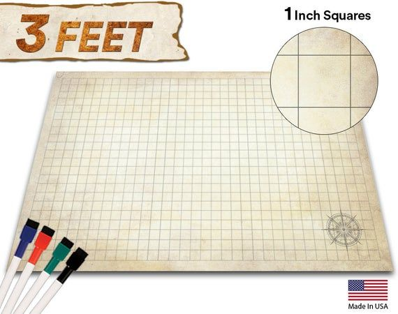Battle Grid Game Mat 24x36 Ultra Durable Polymer Material Etsy Grid Game Dungeons And Dragons Dnd