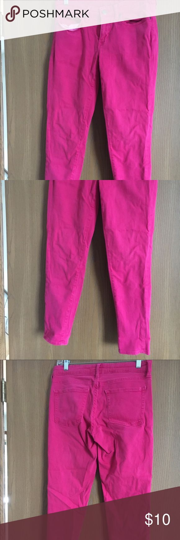 Gap size 8 hot pink super skinny jeans Gap size 8 super skinny jeans. Hot pink. Worn a few times. Cute rolled up into capris. GAP Pants Skinny
