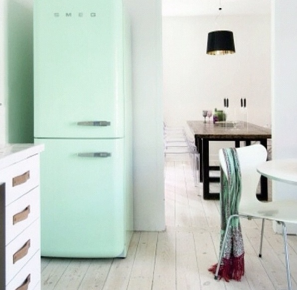 mint colored fridge! retro feel! :)
