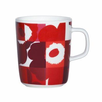 Marimekko Ruutu-Unikko Red/Pink Mug is an interpretation of Maija Isola's Unikko print by her granddaughter, Emma. The combination of a Ruutu (Check) print gives it a funky, digital look.