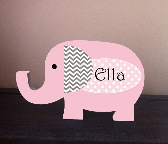 Elephant nursery decor/personalized wooden by TheWoodenOwl on Etsy, $25.00