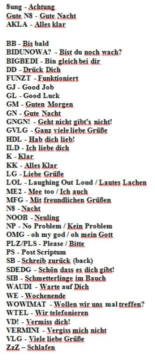 Text / online abbreviations in German