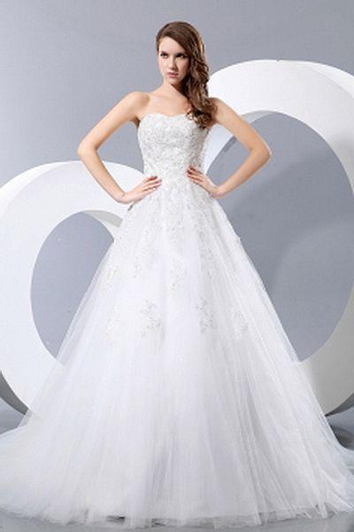 Weekly Special Product: Schatz Weißem Tüll Hochzeitskleid ma0565 - Order Link: http://www.modeabendkleider.de/schatz-weissem-tull-hochzeitskleid-ma0565.html - Farbe: White; Silhouette: A-Line; Ausschnitt: Sweetheart; Verzierungen: Applique, Sicken, Paille