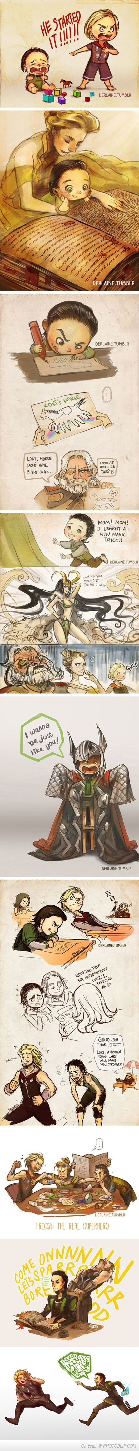 Loki's Childhood By Derlaine- I will never get enogh of baby loki and thor.------ this is the best mohdst deppresing post I have ever seen on this website.: