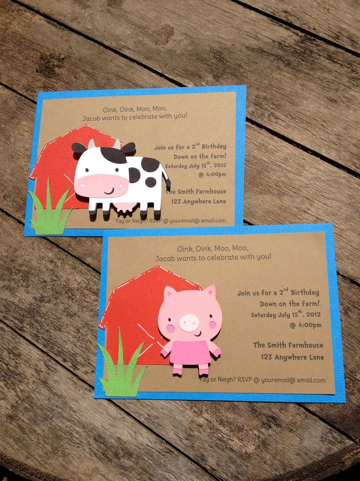 Barnyard Farm Party Invitations Cow, Pig, Barn, Birthday Invitations shower invitations custom. $24.00, via Etsy.