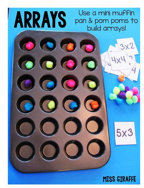 Arrays 2nd grade and 3rd grade ideas your students will love! This blog post has SO many great ideas for teaching arrays and repeated addition.  This is a great visual skill for teaching students with special learning needs.  Read more at:  http://missgiraffesclass.blogspot.com/2015/07/how-to-teach-arrays.html