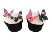 24 Eetbare Vlinders - Roze en Zwart - Cupcake Accessoires Cake Decorations Toppers Bruiloft Verjaardag