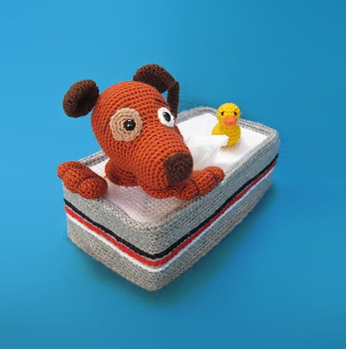 Tissuebox Cover Bathing Puppy With Rubber Duck Crochet Pattern -- pay for pattern... I may just come up with a pattern myself. Too cute!