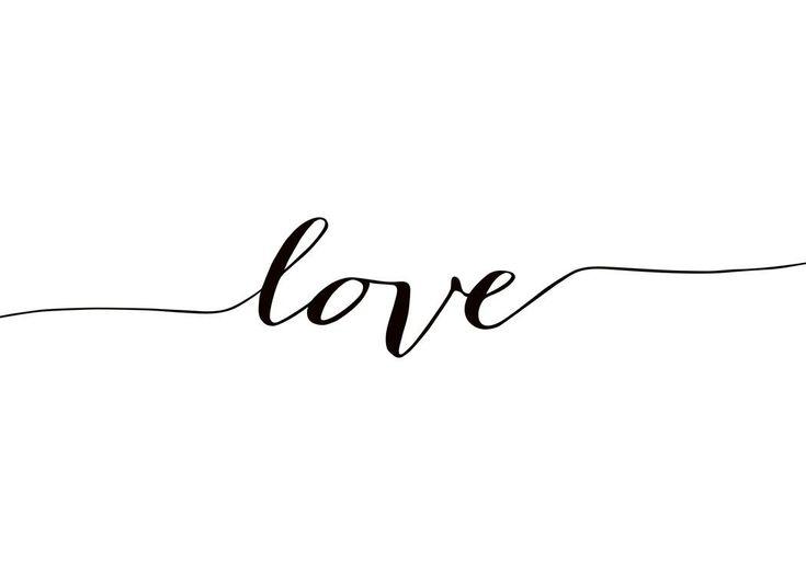 Poster in Schwarz-Weiß mit Schriftzug Love. #schwarzewände Poster in Schwarz-Weiß mit Schriftzug Love.