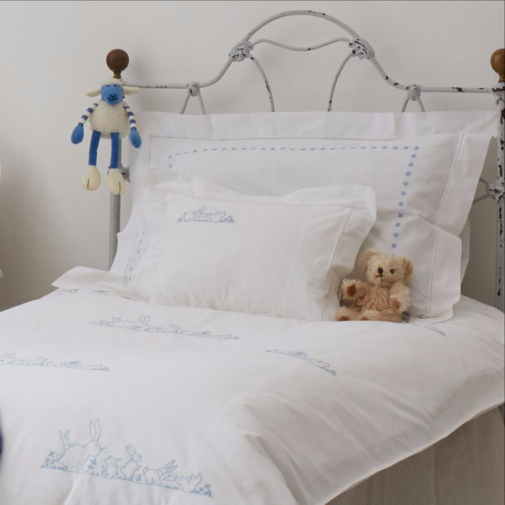 Blue Bunnies Cot Bed Duvet Cover by SARAHK designs | SARAHK designs