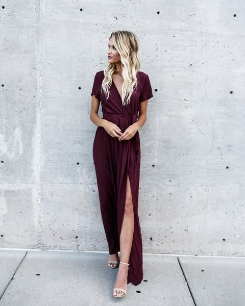 Solid Bardot Wrap Dress – Wine