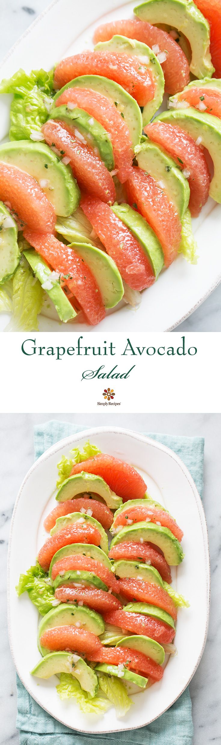 Grapefruit Avocado Salad ~ Grapefruit avocado salad. Peeled segments of grapefruit arranged with avocado slices, with a citrus vinaigrette. ~ SimplyRecipes.com