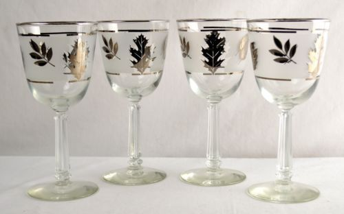 Set-of-4 Libbey Leaves Mid-Century Wine Glasses from #UdderlyGoodStuff