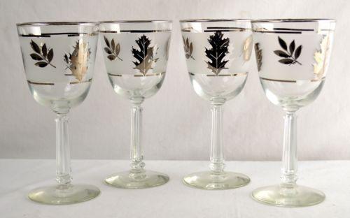 Set-of-4 Libbey Leaves Mid-Century Wine Glasses from #UdderlyGoodStuff