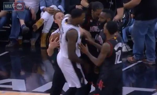 Nene Hilario was ejected from Monday's Game 1 of the Spurs-Rockets series after involving himself in an altercation.  Nene stepped in after the Spurs' Dewayne Dedmon went head-to-head with James Harden before the start of the fourth quarter.  #NBA  Nene separated Dedmon from Harden and did so by extendin