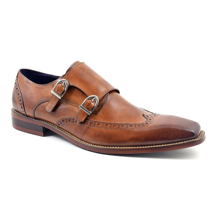 Buy mens tan double monk strap shoes for a formal look. Brogue detail and warm colour make these monk strap shoes stylish and desirable. £89.95. Free del.